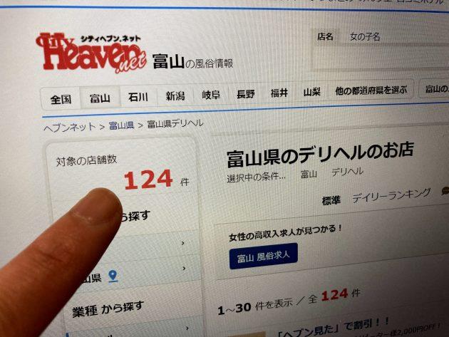 富山のデリヘルの数