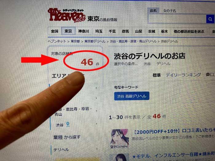 渋谷のデリヘルの数